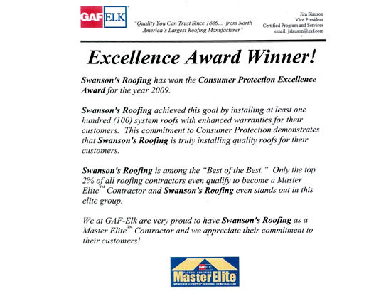 Roofing Dog GAF Award